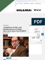 """""""Societatea, în sine, este întotdeauna necreștină"""" – interviu cu Jean-Luc MARION - Dilema veche"""