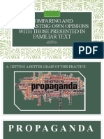Comparing and Contrasting Own Opinions with those Presented in Familiar Text