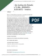 Tribunal de Justiça do Estado da Bahia TJ-BA _ 8000455-93.2017.8.05.0072 - Inteiro Teor