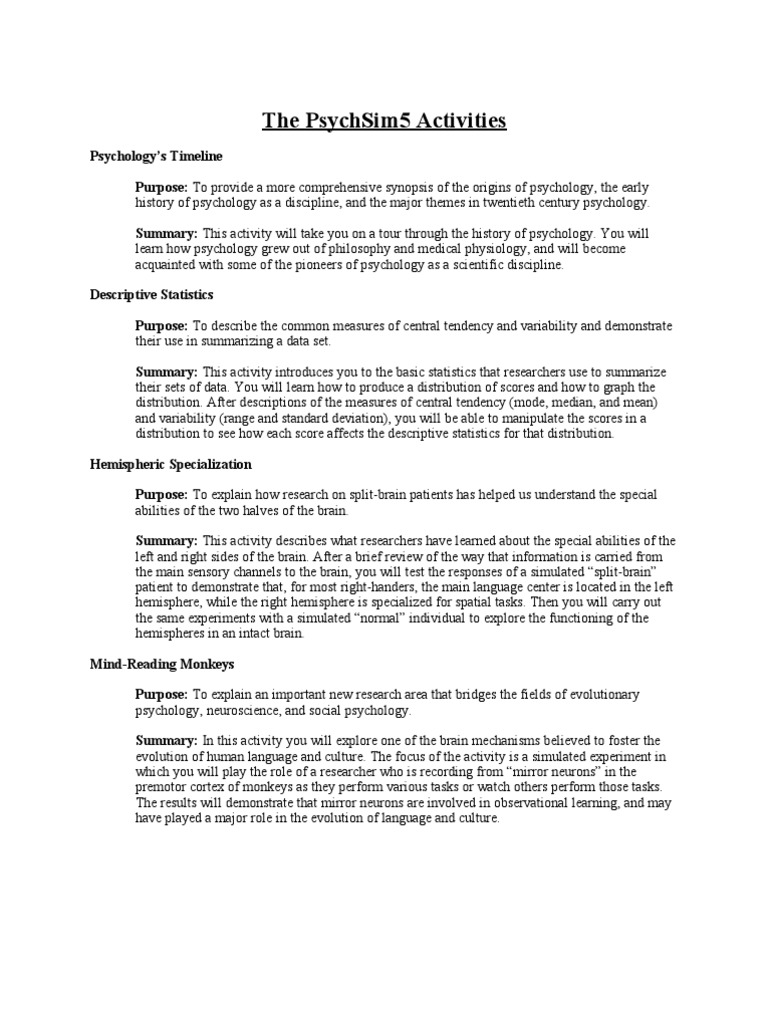 Psychsim 5 Mystery Therapist Worksheet Answers Psychsim5worksheets