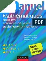Mini Manuel de Math 233 Matiques Pour Les Sciences de La Vie Et de l Environnement - Cours Et Exos Corrig 233 s - Dunod
