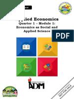 AppliedEconomics_Q3_Mod1_Economics as Social and Applied Science