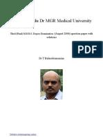 Tamilnadu Dr MGR University MBBS Prefinal ENT August 2006 question paper with solution