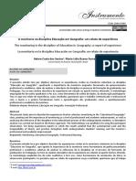 A Monitoria Na Disciplina Educação Em Geografia