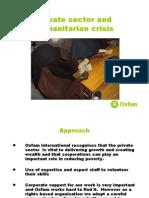 Fran equiza, Pivate sector an humanitarian crisis