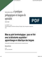 Mise au point terminologique_ pour en finir avec la dichotomie acquisition_ apprentissage en didactique des langues