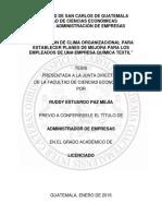 """""""EVALUACIÓN DE CLIMA ORGANIZACIONAL EMPRESA QUIMICA TEXTIL"""