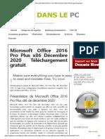 Microsoft Office 2016 Pro Plus x86 Décembre 2020 Téléchargement Gratuit