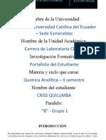 Portafolio de Quimica Analitica -CRISS QUILUMBA 19