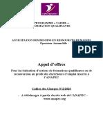 Appel d'offre opérateur automobile VFF