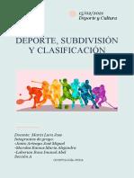 Deporte, Subdivisión y Clasificación Resumen Deporte y Cultura