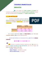 CATEGORÍAS GRAMATICALES resumen