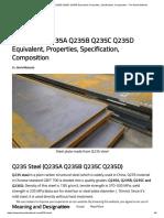 Q235 Steel Q235A Q235B Q235C Q235D Equivalent, Properties, Specification, Composition - The World Material