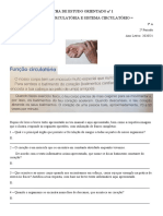 FICHA DE ESTUDO ORIENTADO nº 1 - Estudo do Meio - Função Circulatória e Sistema Circulatório