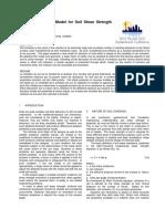 Cohesion Model for Soil Shear Strength