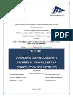 Diagnostic des risques santé sécurité au travail liés à la construction des batiments