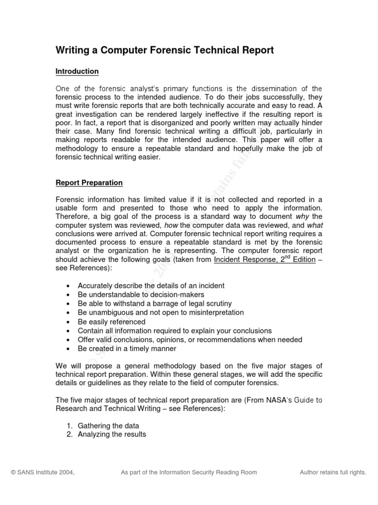 computer forensic report example Writing A Computer Forensic Technical Report | Forensic Science ...