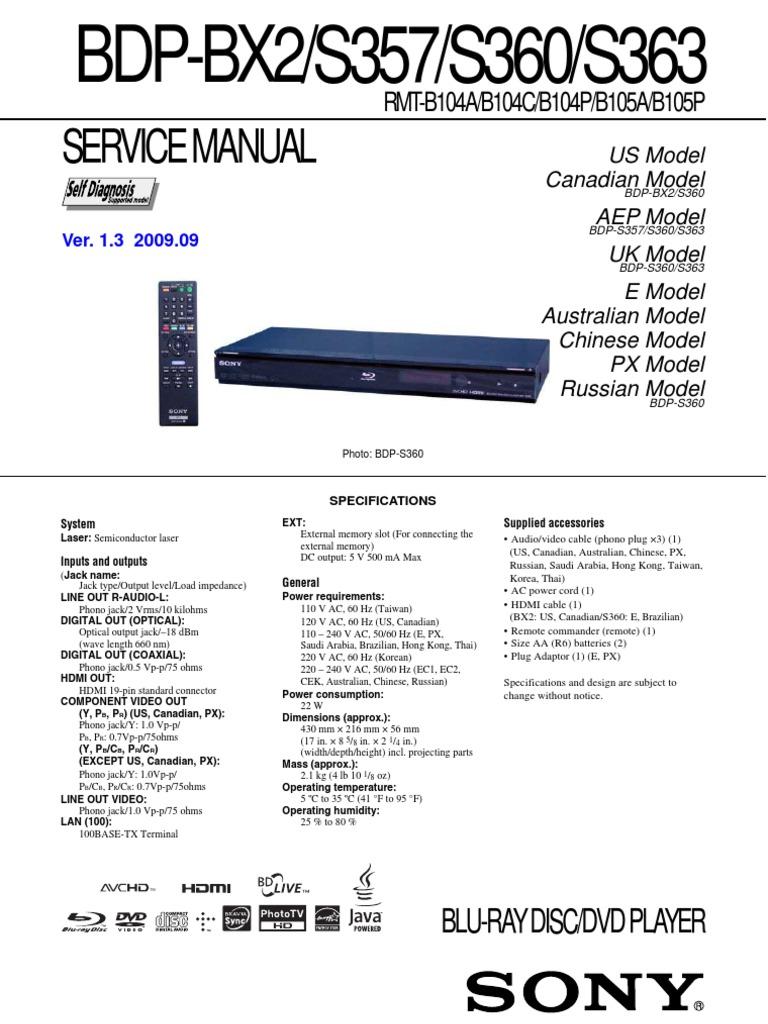 service manual sony bdp bx2 s357 s360 s363 soldering rh scribd com BDP-S360 Wireless Adapter BDP-S360 Remote