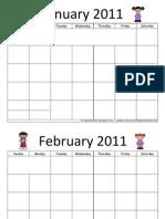 2011 blank calendars