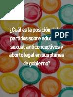 Postura de Los Partidos Sobre Educación Sexual, Anticonceptivos y Aborto