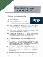 Liste Définitive Candidatures EP 21-017 Du 22 Février 2021