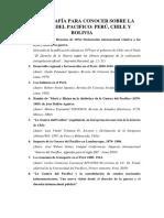 BIBLIOGRAFIA PARA CONOCER SOBRE LA GUERRA DEL PACÍFICO- PERÚ, CHILE Y BOLIVIA