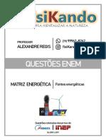 08 - QUESTÕES ENEM - Matriz Energética