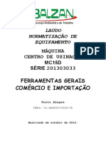 LAUDO CENTRO USINAGEM MC15D