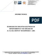 INFORME TECNICO DE MEGADO DE CIRCUITOS ELECTRICOS DE DEPARTAMENTO  502 BARRANCO