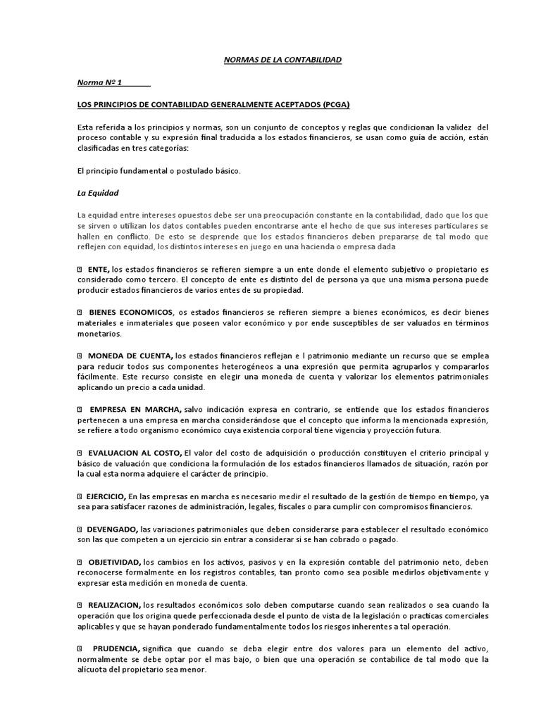 NORMAS DE LA CONTABILIDAD