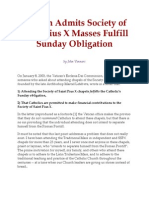 Vatican Admits Society of Saint Pius x Masses Fulfill Sunday Obligation