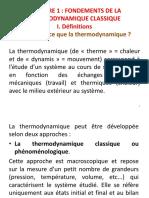 Chapitre 1 Fondements de La Thermodynamique Classique ST