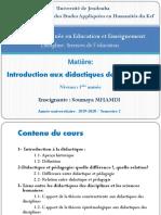 Contenu Du Cours Introduction Aux Didactiques Des Disciplines1