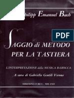 C.P.E. Bach Saggio Di Metodo Per La Tastiera