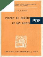 Hegel, Georg Wilhelm Friedrich - L'esprit du Christianisme et son destin (1)