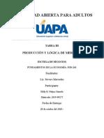 TAREA 3 PRODUCCIÓN Y LÓGICA DE MERCADO