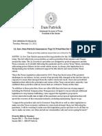 PR 02 23 2021 Lt. Gov. Dan Patrick Announces Top 31 Priorities for the 2021 Session