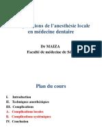 Complications en anesthésie dentaire