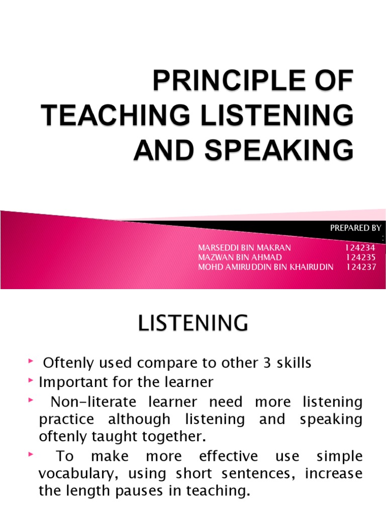 teaching listening and speaking Teaching the core skills of listening and speaking and millions of other books are available for amazon kindle learn more enter your mobile number or email address below and we'll send you a link to download the free kindle app.