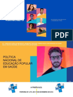 AULA 8- POLÍTICA NACIONAL DE EDUCAÇÃO POPULAR EM SAÚDE