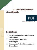 T2 L'activité économique et ses éléments