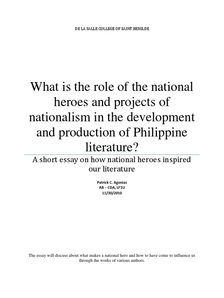 essay on our national hero