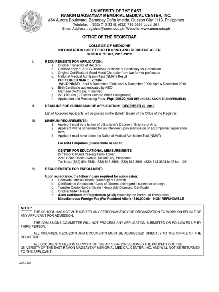 UERM Application Medical School – Medical Certificate for School