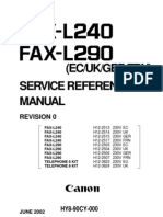 CANON FAX L240-290 SERVICE REFERENCE MANUAL