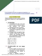 PLAN DE REDACCIÓN DEL EXAMEN DE ADMISIÓN A LA UNIVERSIDAD CON SOLUCIONARIO DE RAZONAMIENTO VERBAL