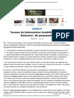 'Sucesso Do Bolsonarismo Inviabiliza Governo Bolsonaro', Diz Pesquisador