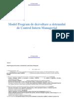 Model Program de dezvoltare a sistemului de control intern managerial