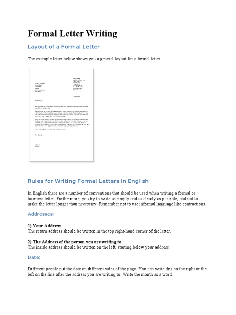 Formal letter writing rules linguistics spiritdancerdesigns Choice Image