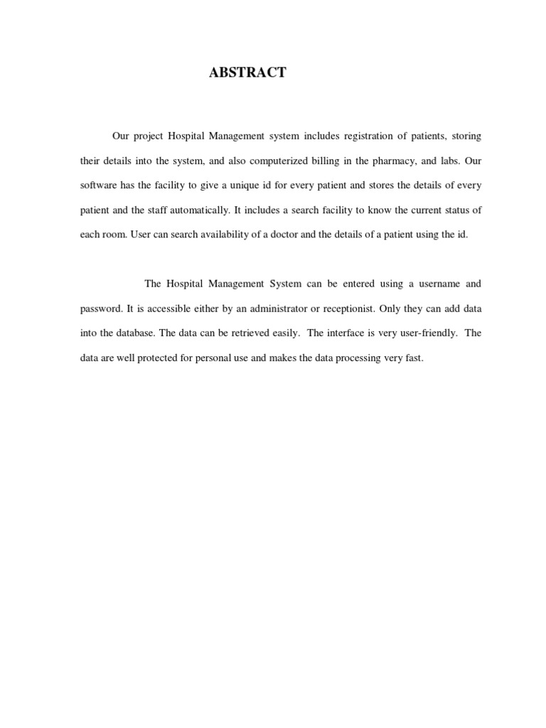 Hospital Management System Abstract Microsoft Access