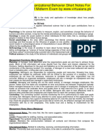 MGT502 Organizational Behavior Short Notes For Preparation of Midterm Exam